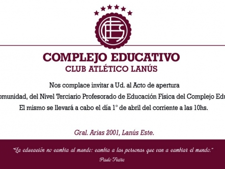 PROFESORADO DE EDUCACIÓN FÍSICA - Inauguración